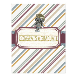 Pewter Look Owl Perched on Tags, Congrats Graduate Letterhead