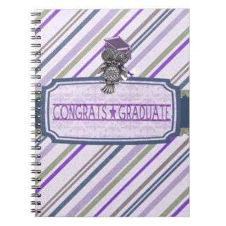 Pewter Look Owl Perched on Tags, Congrats Graduate Notebook