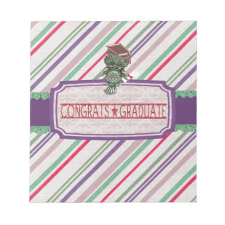 Pewter Look Owl Perched on Tags, Congrats Graduate Notepad