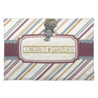 Pewter Look Owl Perched on Tags, Congrats Graduate Placemat