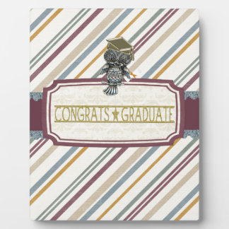 Pewter Look Owl Perched on Tags, Congrats Graduate Plaque