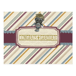 Pewter Look Owl Perched on Tags, Congrats Graduate Postcard