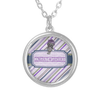 Pewter Look Owl Perched on Tags, Congrats Graduate Silver Plated Necklace