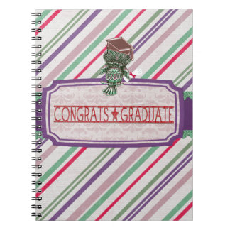 Pewter Look Owl Perched on Tags, Congrats Graduate Spiral Notebook