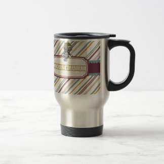 Pewter Look Owl Perched on Tags, Congrats Graduate Travel Mug
