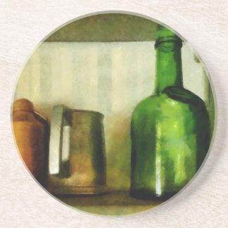 Pewter Mug And Green Bottle Coaster