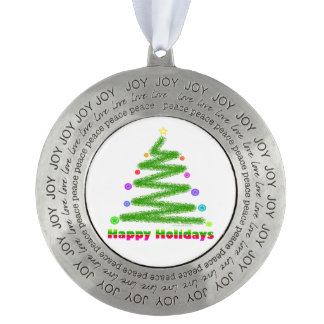 PEWTER ORNAMENT HAPPY HOLIDAYS CHRISTMAS TREE ART ROUND PEWTER ORNAMENT