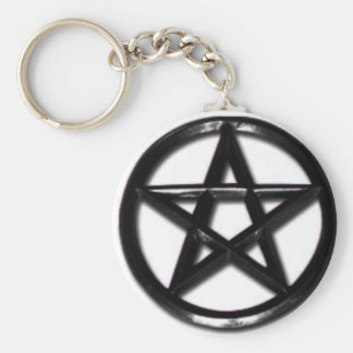 Pewter Pentacle pagan keychain