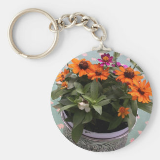 Pewter Pot Daisies Keychain