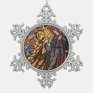 Pewter Snowflake Anunciation Christmas Ornament