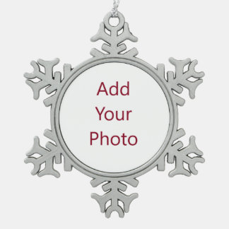 Pewter Snowflake Christmas Ornament add your image