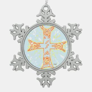 Pewter Snowflake Ornament  /Greek Cross