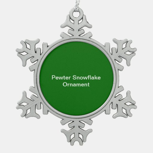 Pewter Snowflake Ornament Green Background