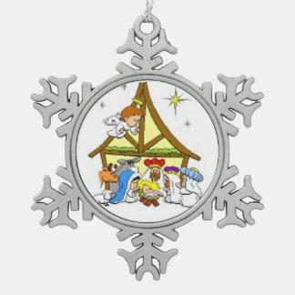 Pewter Snowflake Ornament/Nativity Pewter Snowflake Ornament