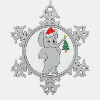 Pewter Snowflake Ornament/Santa Elephant Snowflake Pewter Christmas Ornament