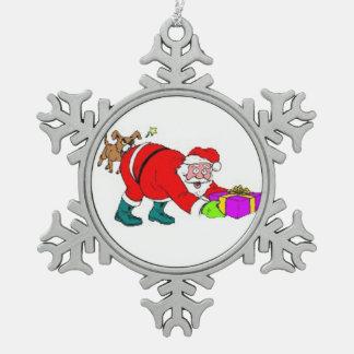 Pewter Snowflake Ornament/Santa Pewter Snowflake Ornament