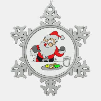 Pewter Snowflake Ornament/Santa Snowflake Pewter Christmas Ornament