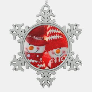 Pewter Snowflake Ornament/Snowman Couple Pewter Snowflake Ornament