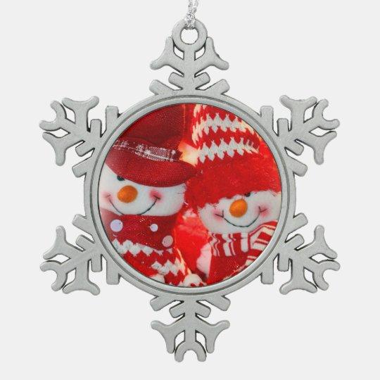 Pewter Snowflake Ornament/Snowman Happy Couple Pewter Snowflake Ornament