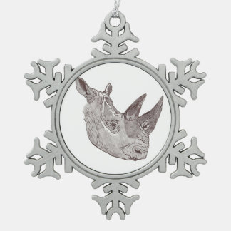 Pewter Snowflake Rhino Ornament