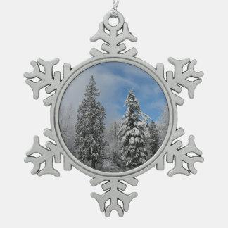 Pewter Snowflake Snowy Trees Winter Snow Ornament