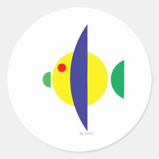 Pez amarillo round sticker