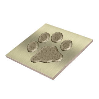 Pfötchen gold *-* ceramic tile