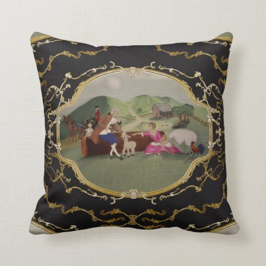 PH&D French Toile Pillow Black and Gold