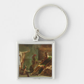 Phaedra and Hippolytus, 1802 Silver-Colored Square Keychain