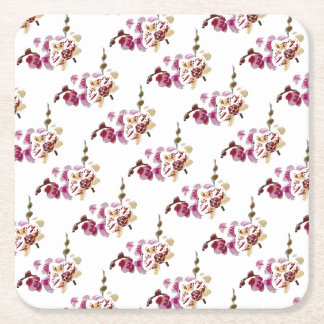 Phalaenopsis Orchid Flower Bouquet Square Paper Coaster