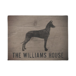 Pharaoh Hound Silhouette Personalized Doormat