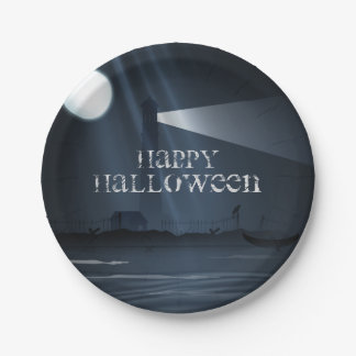 Phare heureux de Halloween aux plats de partie de Assiette En Papier 17,8 Cm