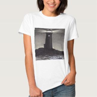 Phare la nuit brillant une lumière de navigation tee-shirt