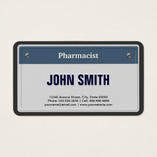 Pharmacist Cool Car License Plate Business Card