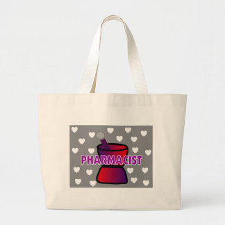 PHARMACIST GREY WHITE HEARTS CANVAS BAGS