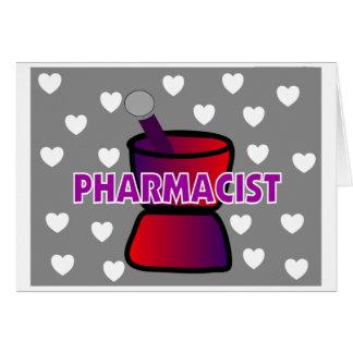 PHARMACIST GREY WHITE HEARTS GREETING CARD