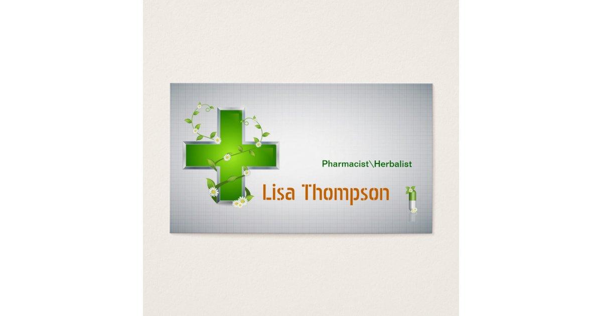 Pharmacist Herbalist Pharmacy Nutritionist Business Card | Zazzle.ca