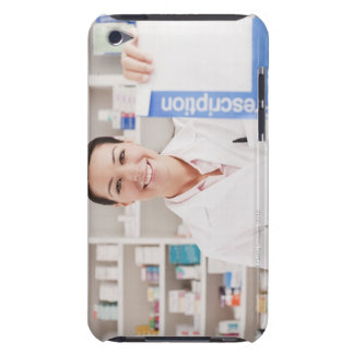 Pharmacist holding prescription in drug store barely there iPod cases