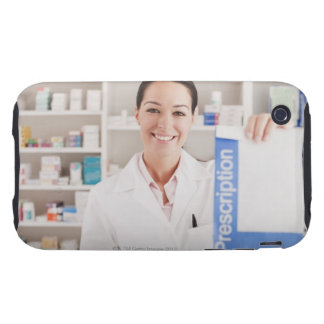 Pharmacist holding prescription in drug store iPhone 3 tough covers