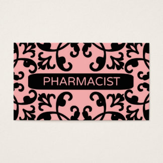Pharmacist Peach Damask Business Card