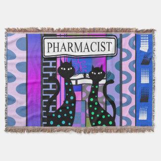 Pharmacist PharmD Woven Blanket Cats Abstract Throw