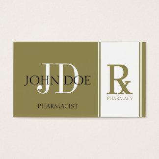 Pharmacist/Prescription Pharmacy Antique Gold Business Card