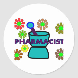 """Pharmacist""  Retro Flowers T-Shirts & Gifts Classic Round Sticker"