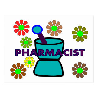Pharmacist Retro Flowers T-Shirts Gifts Post Card