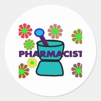 """Pharmacist""  Retro Flowers T-Shirts & Gifts Round Sticker"