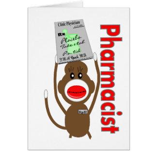 Pharmacist Sock Monkey Design---Adorable Gifts Greeting Card