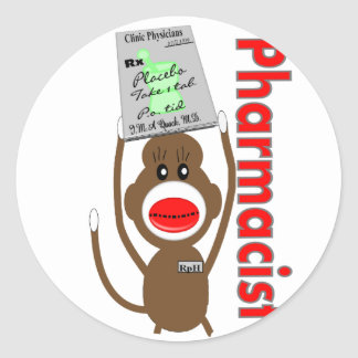 Pharmacist Sock Monkey Design---Adorable Gifts Round Sticker