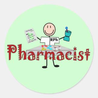 Pharmacist Stick Person--Gifts Round Sticker
