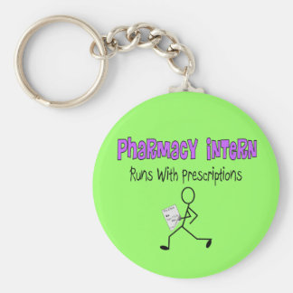 "Pharmacy Intern ""Runs With Prescriptions"" Keychain"