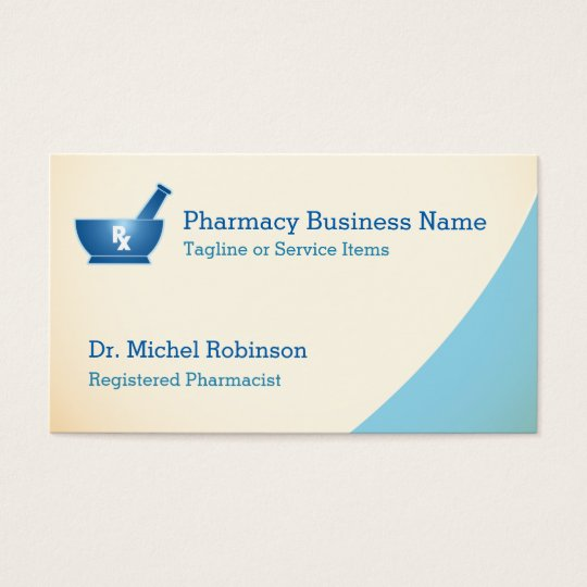 Pharmacy mortar pestle logo chemist cream blue business for Pharmacist business card